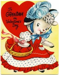 vintage greeting card graphic, retro valentine to grandma, a miller card, public domain greeting card, lamb illustration, basket of hearts