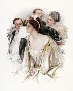 harrison fisher, at the opera, group at theatre, victorian art