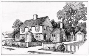 vintage house plans, old fashioned home, antique house clipart, black and white house illustration