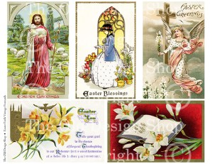 vintage easter postcard, digital collage sheet, christian easter, easter faith clipart