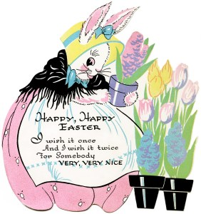 vintage easter clipart, antique easter card, easter bunny graphic, digital easter image