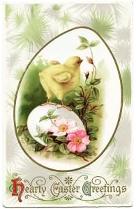 vintage easter postcard, antique postcard, chick on egg, old easter card