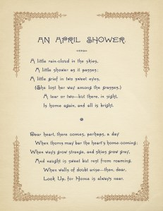 an april shower, mary lathbury, vintage poem, free digital graphics, old poetry, aged paper