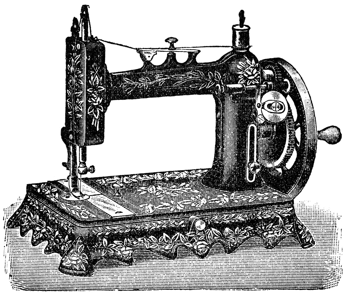 sewing machine clipart black and white