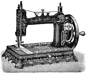 vintage sewing machine, digital clipart sewing, old French sewing machine, vintage sewing graphics, black and white sewing clip art