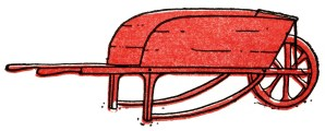 red wheelbarrow illustration, free digital graphics, wheelbarrow digital image, garden clipart, vintage clip art wheelbarrow
