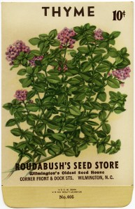 vintage seed packet, thyme seed envelope, gardening clipart, garden clip art, old fashioned herb image