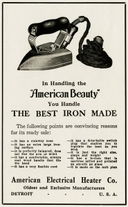 vintage magazine advertisement, iron clip art, american beauty iron, antique sewing graphics, old digital paper
