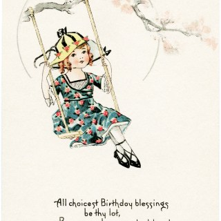 Free Vintage Image ~ Girl on Swing Birthday Postcard