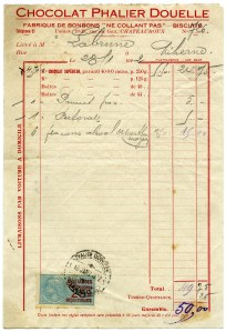 vintage French receipt, aged shabby invoice, old paper, free digital graphics, chocolat phalier douelle