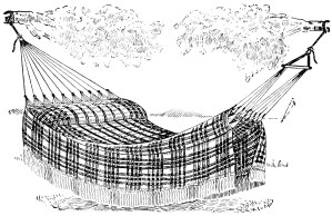 vintage hammock clip art, black and white clipart, vintage summer graphics, old fashioned plaid hammock, outdoor bed illustration