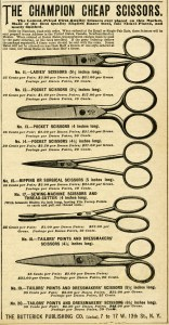 vintage scissors clip art, free digital sewing graphics, old fashioned scissors illustration, old magazine advertising, black and white scissors clipart