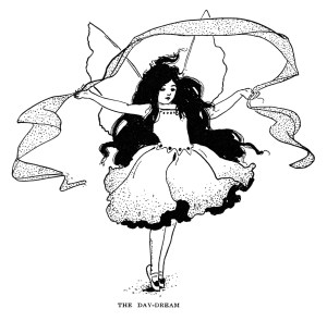 day dream fairy, antique storybook graphics, black and white clipart,vintage clip art fairy, printable childrens image