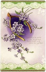 free vintage postcard, victorian card graphics, old fashioned floral postcard, wishbone image, public domain postcard