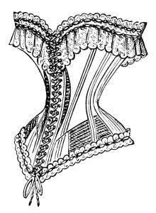 antique french corset image, vintage corset clipart, black and white clip art, victorian ladies fashion, old magazine ad