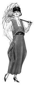 wartime fashion image, vintage lady clipart, old fashioned clothing illustration, black and white vintage clothing clip art, lady with parasol printable