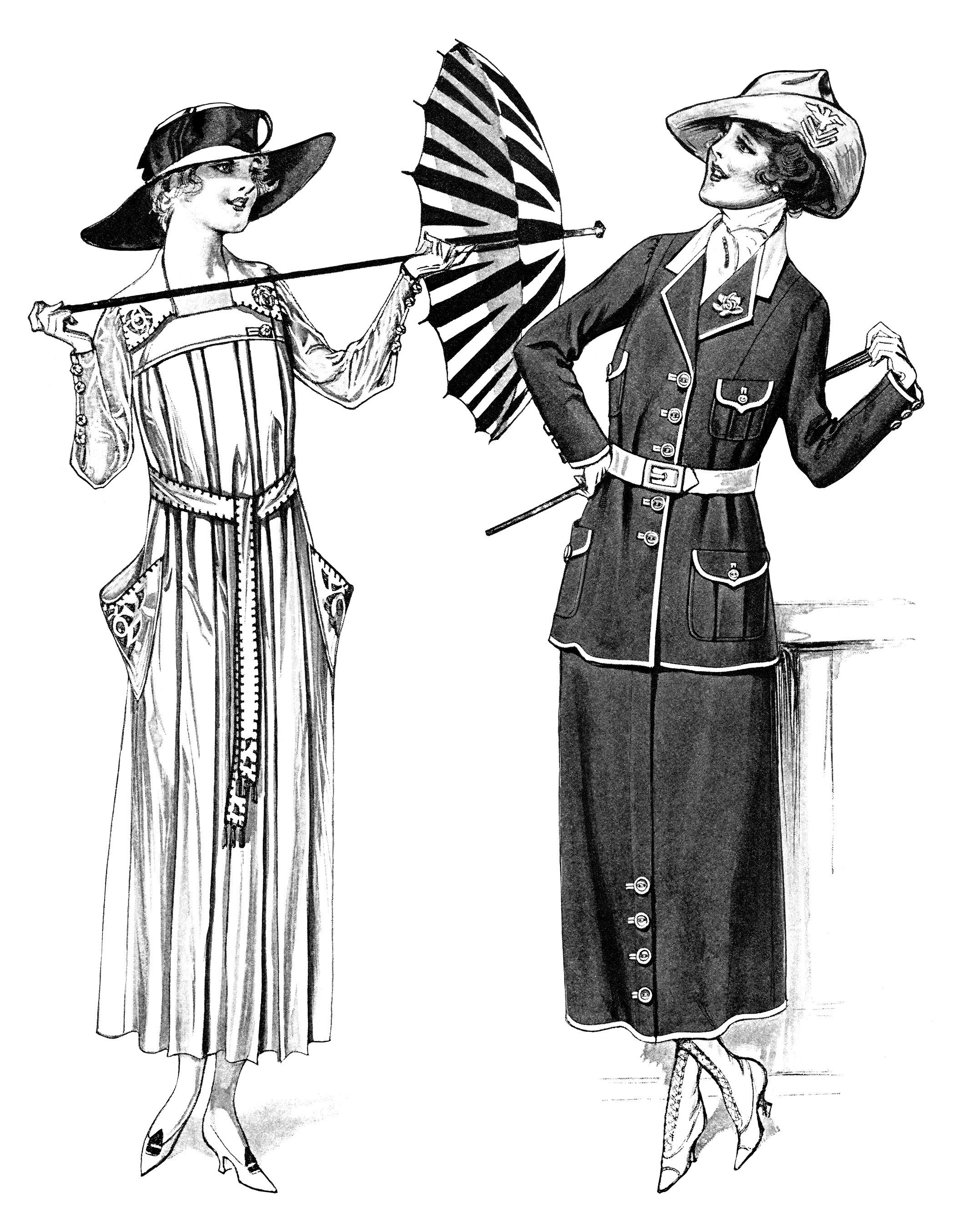 Free Vintage Image Ladies 39 Dresses And Parasols 1917 Old Design Shop Blog