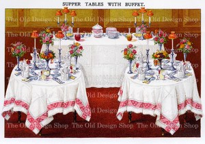 vintage kitchen clipart, mrs beeton table setting, supper buffet image, elegant dinner clip art, decorated party table