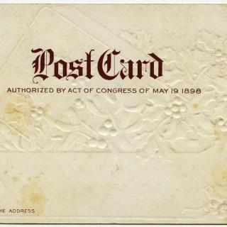 Free Vintage Image ~ Post Card Back 1898