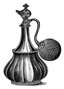 vintage atomizer clip art, black and white clipart, old fashioned perfume bottle, antique beauty product image, free perfume graphic