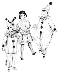 vintage halloween clipart, children in costumes, old fashioned clown suit illustration, free black and white clip art, boy girl halloween printable