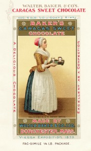 walter baker maid, la belle chocolatiere, lady serving chocolate, vintage cocoa ad, caracas sweet chocolate advertisement