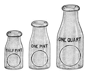 flint glass milk bottle image, vintage dairy clipart, black and white milk clip art, free vintage digital ephemera, old catalogue ad