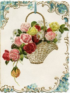 vintage floral card, old fashioned holiday card, antique New Years graphic, basket of roses clipart, Victorian flowers clip art