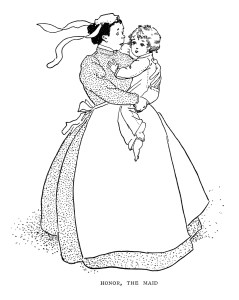 vintage storybook image, honor the maid illustration, black and white clipart, nanny holding child clip art, antique story graphics