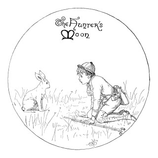 A Hunter's Moon Boy and Rabbit Clip Art