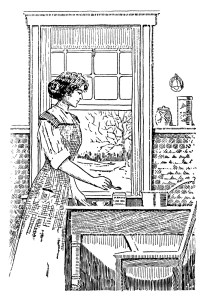 vintage kitchen clipart, black and white clipart, woman cooking image, preparing a meal illustration. digital food graphics