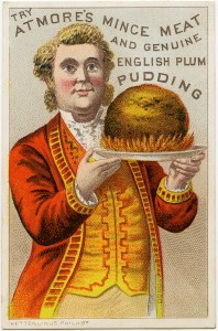 atmore's trade card, victorian advertising card, mince meat plum pudding ad, atmore man in yellow red, old trading card clipart