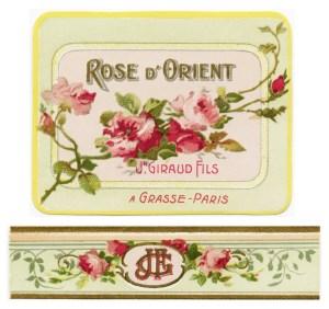 French perfume label, Jn Giraud fils, rose d'orient, vintage french ephemera, victorian roses printable