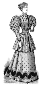 Victorian lady clip art, old fashioned polka dot dress illustration, black and white clipart, vintage fashion image, Edwardian woman graphic