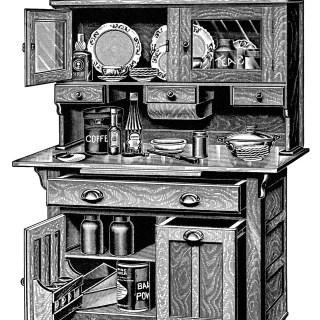 Kitchen Cabinets ~ Free Vintage Clip Art