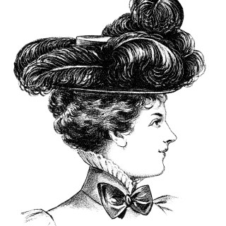 Victorian Ladies' Felt Hat Clip Art