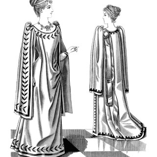 Victorian Ladies' Greek Tea Gown ~ Free Clip Art