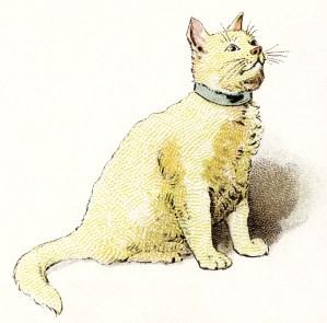 yellow cat clipart, vintage cat image, kitten clip art, storybook pet illustration, animal digital printable