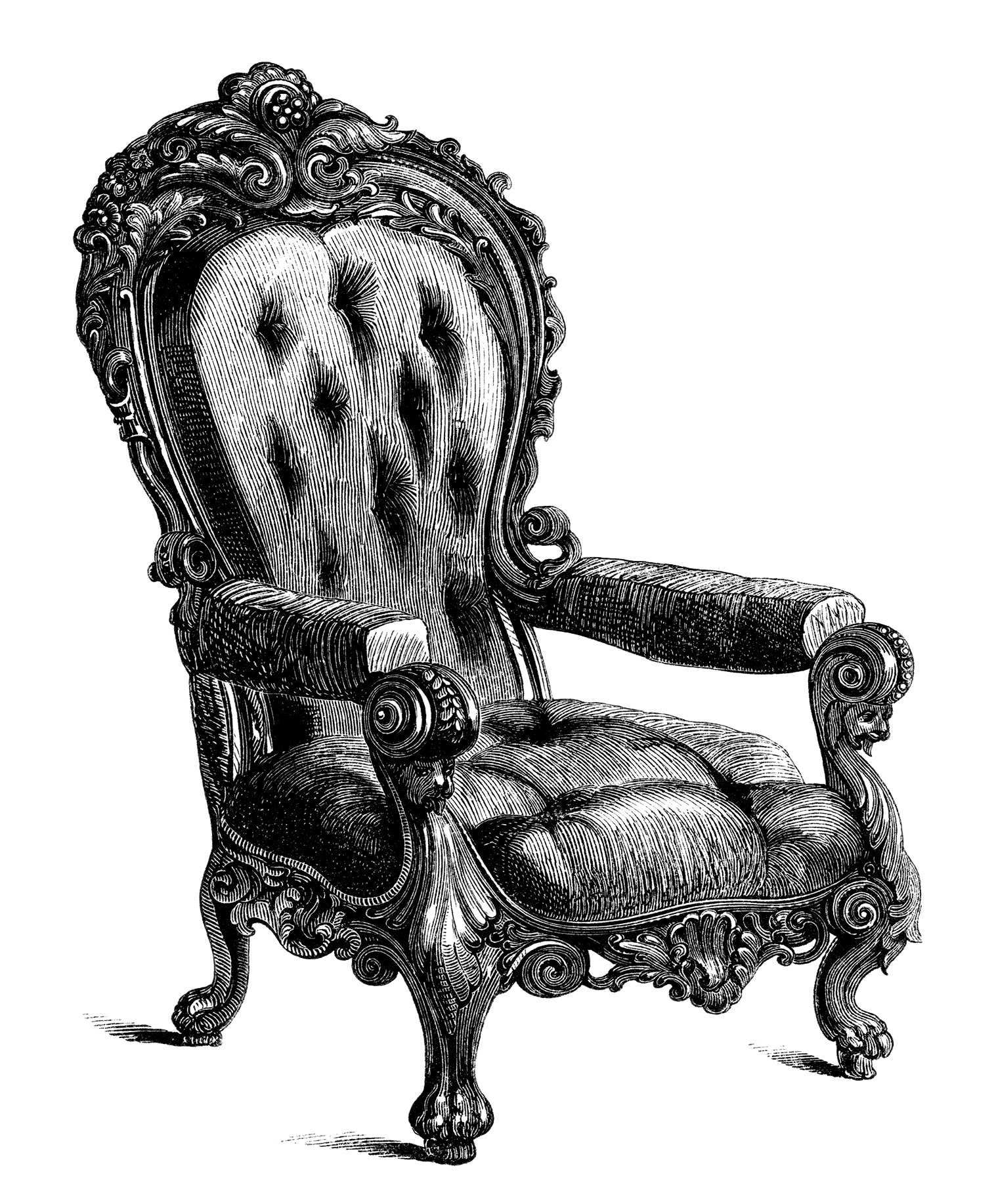 Antique chairs free clip art engravings old design for Old fashioned couch