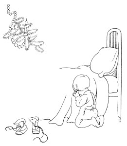 vintage baby clip art, free black and white clipart, baby's first christmas image, bedtime prayer illustration, vintage printable child