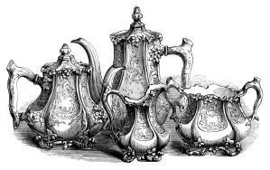 vintage tea set clipart, coffee tea engraving, free black and white clip art, antique kitchen printable, broadhead atkin sheffield