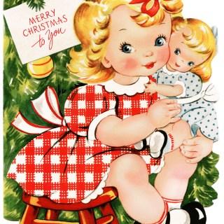 Retro Girl and Doll Christmas Card