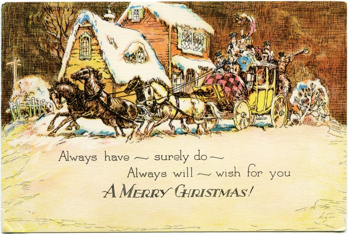 Horse And Carriage Christmas Card Free Vintage Image