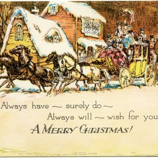 Horse and Carriage Christmas Card ~ Free Vintage Image