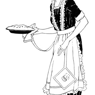Woman Carrying Pie ~ Free Vintage Clip Art