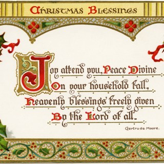 Christmas Blessings ~ Free Vintage Postcard Graphic