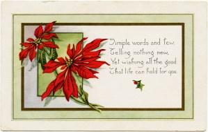 vintage christmas postcard, pointsettia clipart, old fashioned holiday printable, christmas flower card, digital whitney postcard