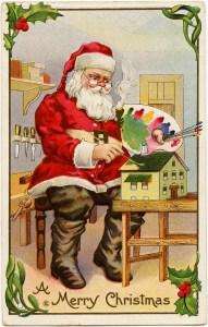 vintage christmas postcard, santa painting doll house, santa claus workshop, paint palette st nicholas, antique holiday card