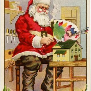 Free Vintage Christmas Postcard Image ~ Santa Painting Doll House