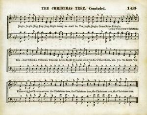 vintage sheet music, aged music page, old christmas song, christmas tree, printable holiday music